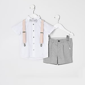 Mini boys white shirt and braces outfit