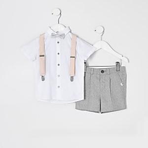 Mini - Witte outfit met overhemd en bretels voor jongens