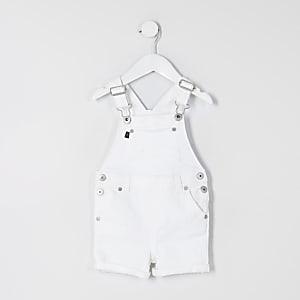 Mini - Witte korte denim tuinbroek voor jongens