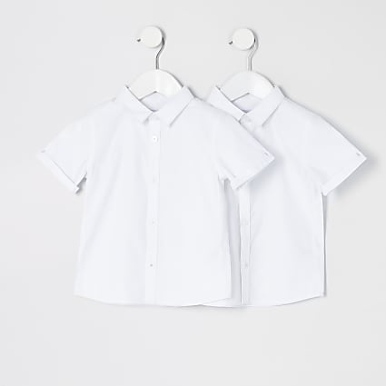 Mini boys white short sleeve shirt 2 pack
