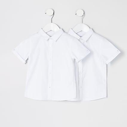 Mini boys white short sleeve shirt 2 pack