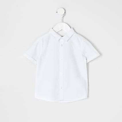 Mini boys white short sleeve twill shirt