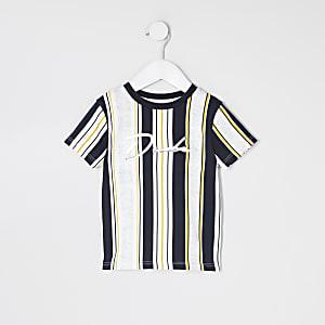 Mini - Wit gestreept T-shirt met 'Dude'-print voor jongens