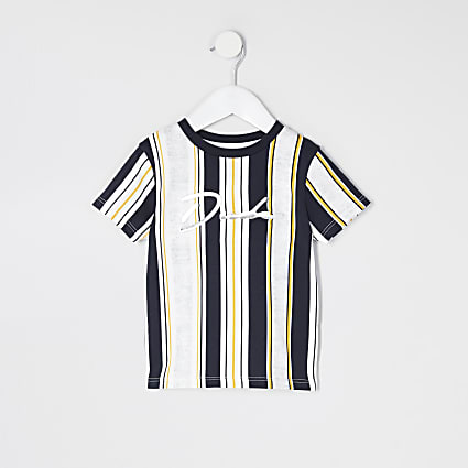 Mini boys white stripe 'Dude' T-shirt