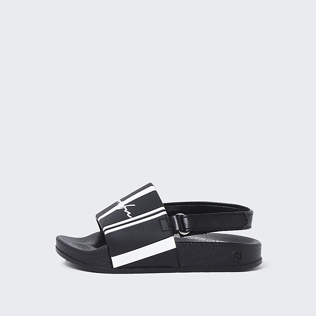 Mini boys white stripe 'Prolific' sliders