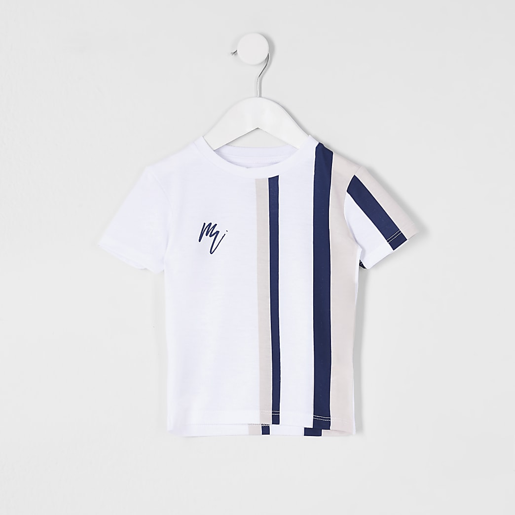 Mini boys white stripe t-shirt