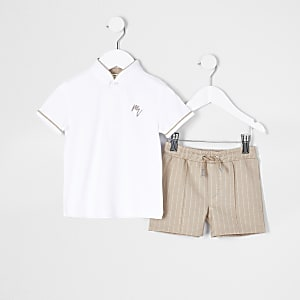 Mini boys white striped polo short set