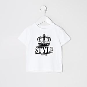 """Mini – Weißes, stylisches T-Shirt""""Prince"""" für Jungen im Multibuy-Vorteil"""