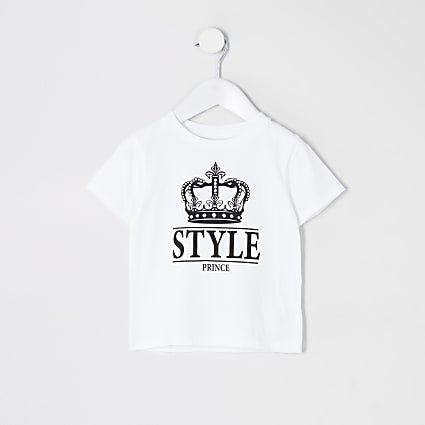 Mini boys white 'Style Prince' t-shirt