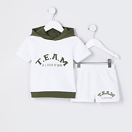 Mini boys white 'Team' hoodie outfit