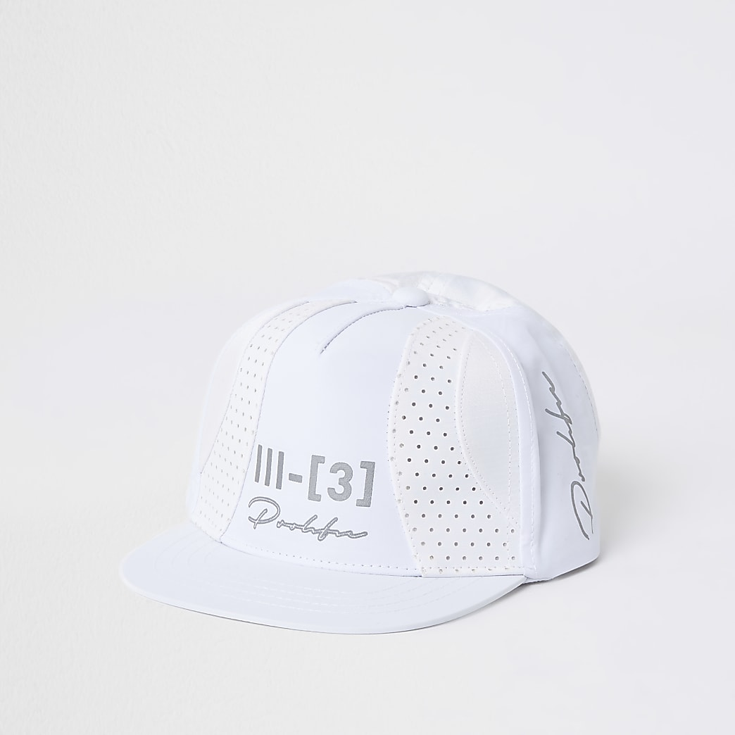 Mini boys white texture block cap