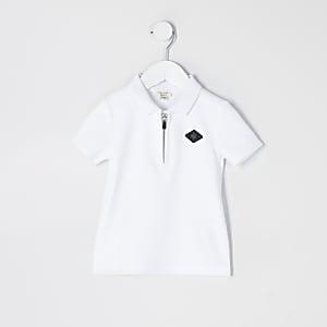 Mini – Strukturiertes Poloshirt in Weiß mit Kurzreißverschluss