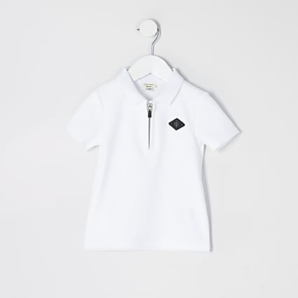 Mini boys white textured half zip polo shirt