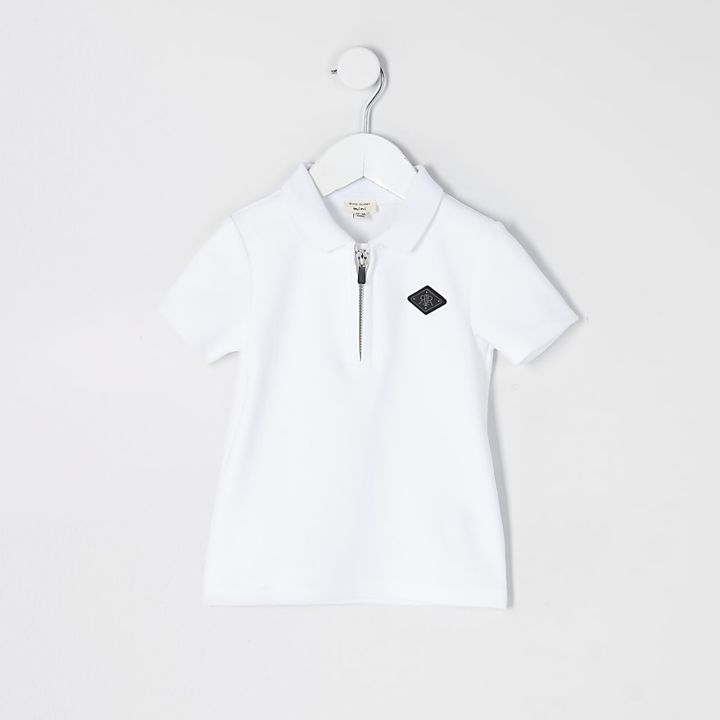 Mini boys white textured half zip polo shirt