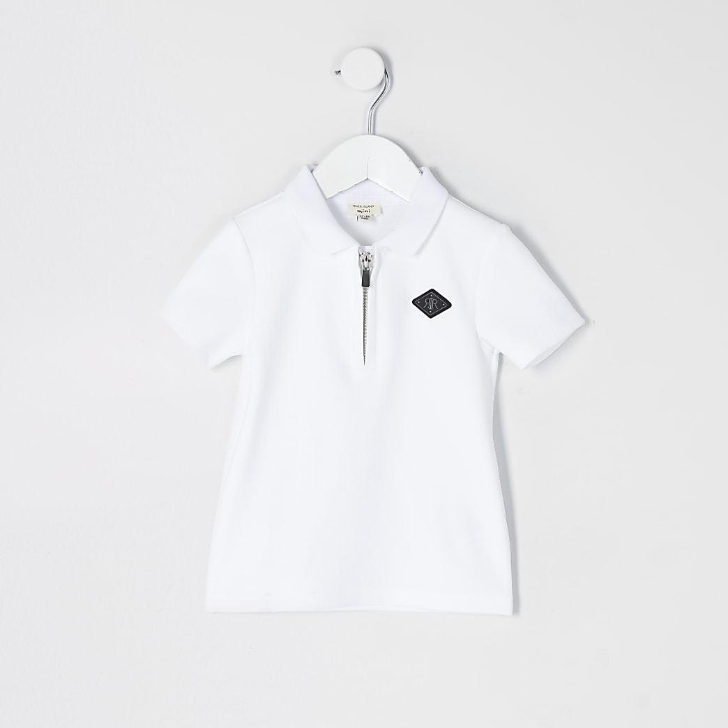 Mini - Witte poloshirt met halve ritssluiting en textuur voor jongens