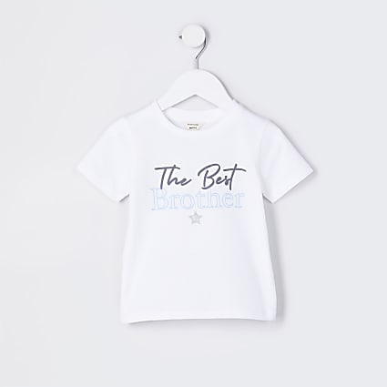 Mini boys white 'the best brother' t-shirt