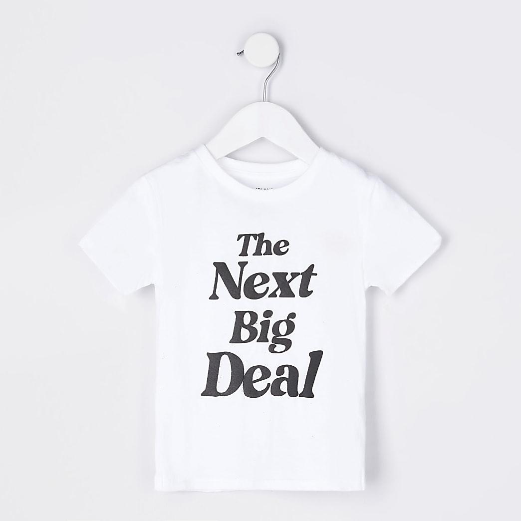 Mini boys white 'The Next Big Deal' t-shirt