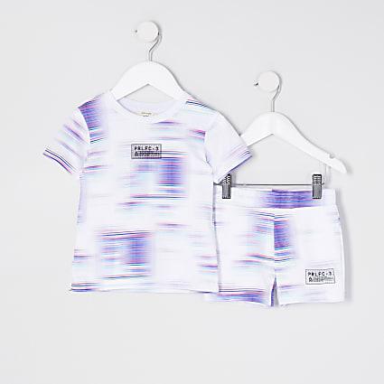 Mini boys white tie dye t-shirt outfit