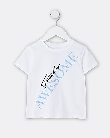 Mini boys white 'Totally Awesome' t-shirt
