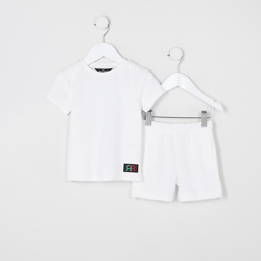 Mini boys white towelling lounge set