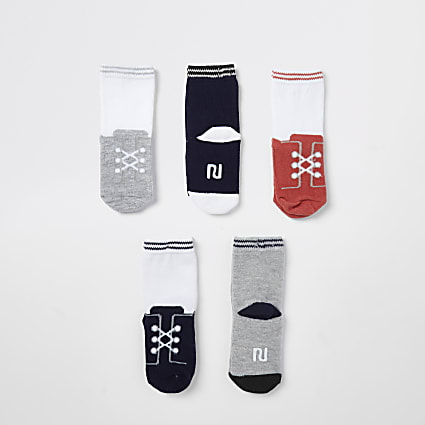 Mini boys white trainer print socks 5 pack