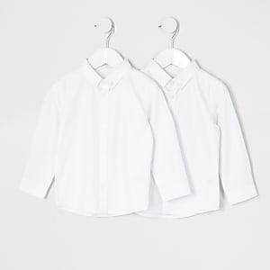 Mini - Wit overhemd van twill-stof voor jongens set van2