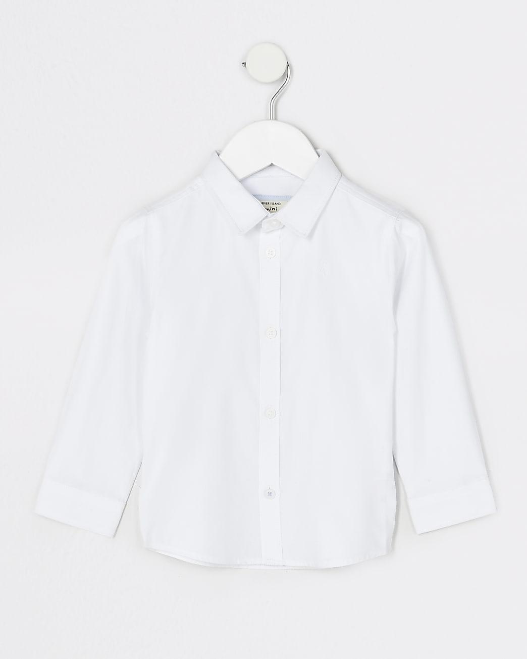 Mini boys white twill shirt