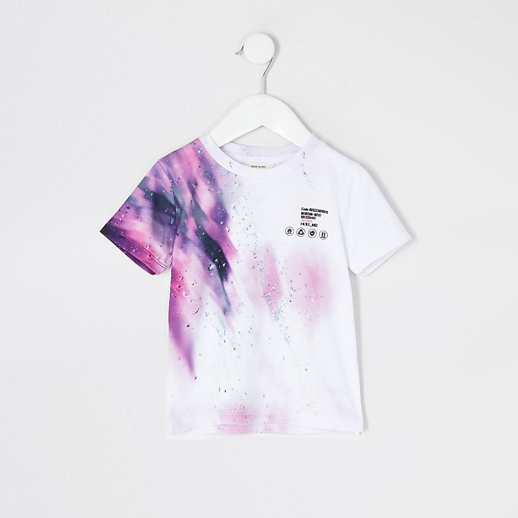 Mini boys white 'Unstoppable' print T-shirt