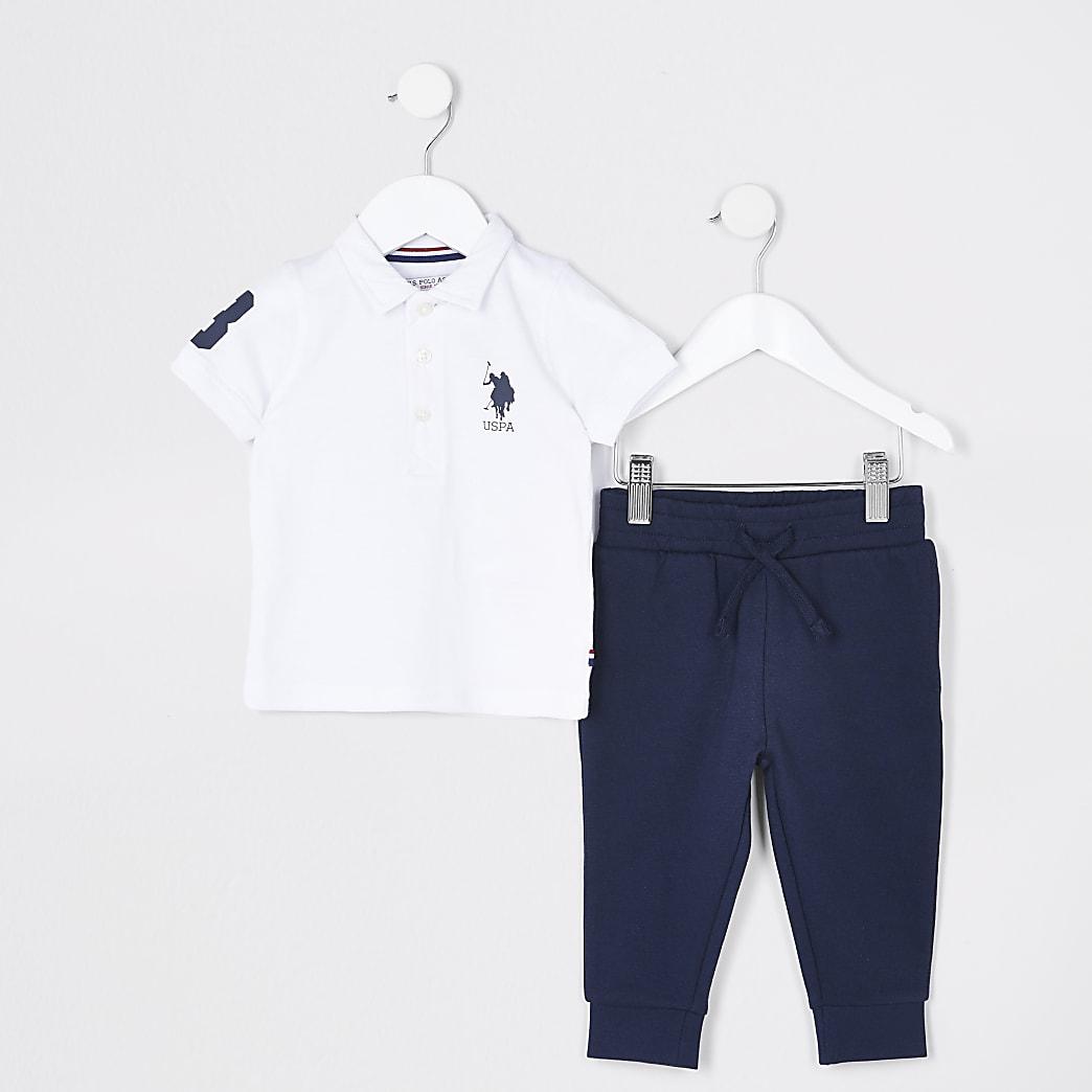Mini boys white USPA polo shirt outfit