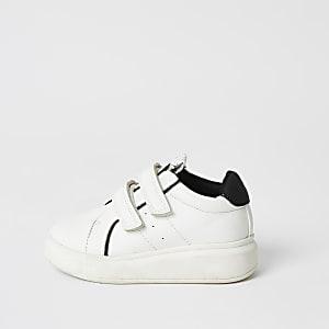 Mini - Witte sneakers met klittenband voor jongens