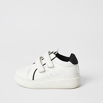 Mini boys white velcro wedge trainers
