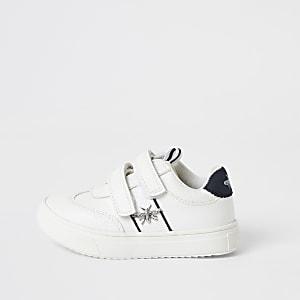 Baskets blanches velcro avec guêpe Mini garçon