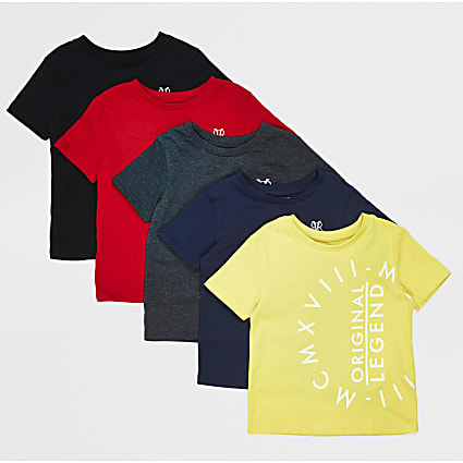 Mini boys yellow 5 pack design T-shirts