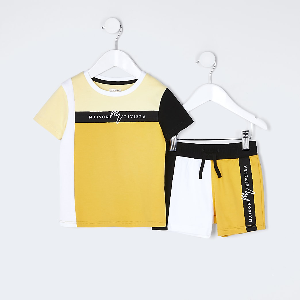 Mini boys yellow block taped t-shirt outfit