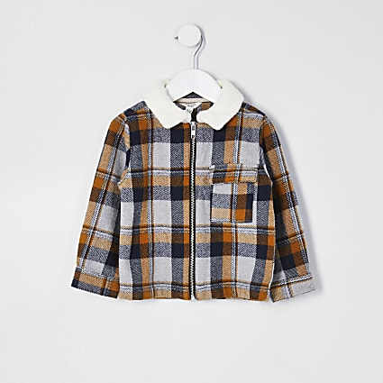 Mini boys yellow borg check zip shacket