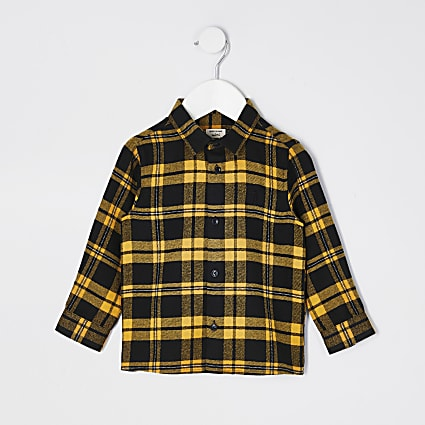 Mini boys yellow check shirt