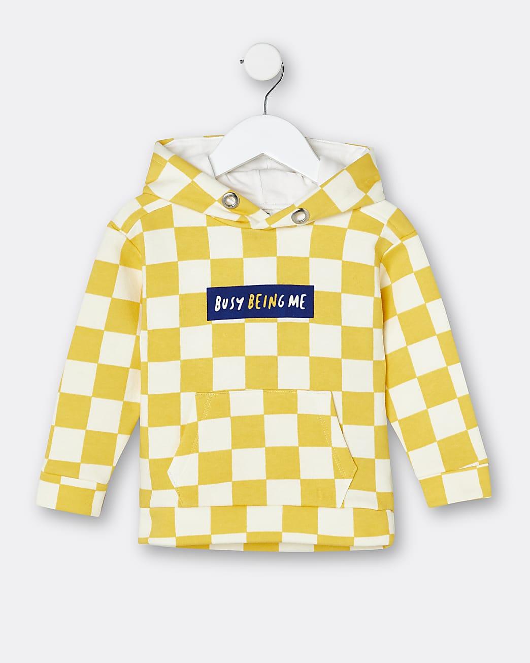 Mini boys yellow checkerboard hoodie