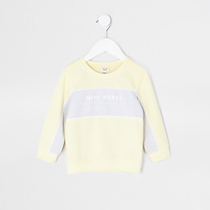 Mini boys yellow colour block sweatshirt