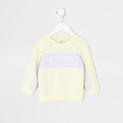 Mini boys yellow colour block sweatshirt