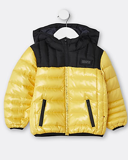Mini boys yellow hooded puffer coat