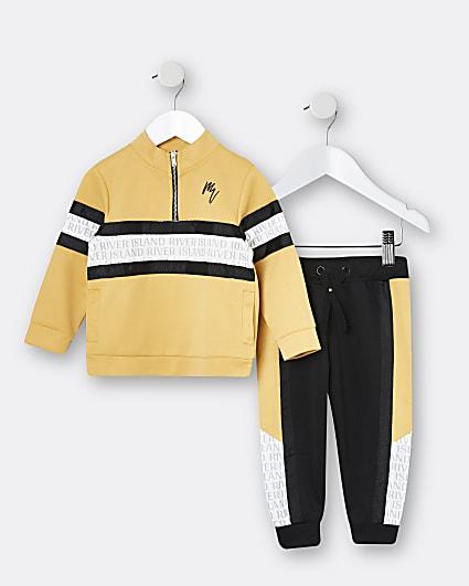 Mini boys yellow Maison Riviera jogger outfit