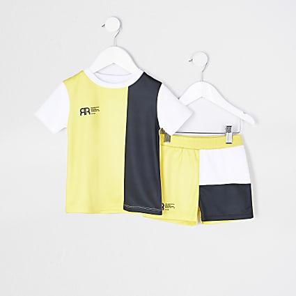 Mini boys yellow mesh t-shirt and short set