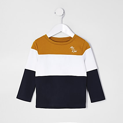Mini boys yellow 'Mini rebel' stripe t-shirt