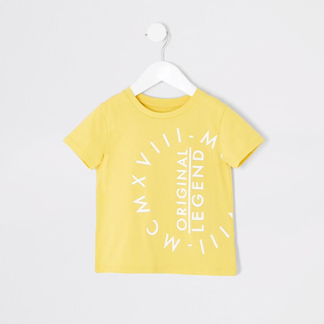 Mini - Geel T-shirt met  'Original legend'-print voor jongens