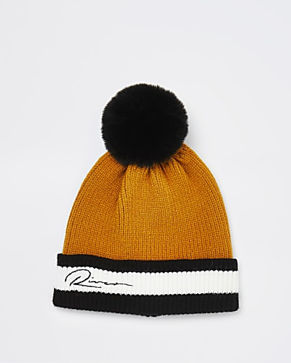 Mini boys yellow River knit beanie hat