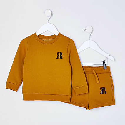 Mini boys yellow RR sweatshirt outfit