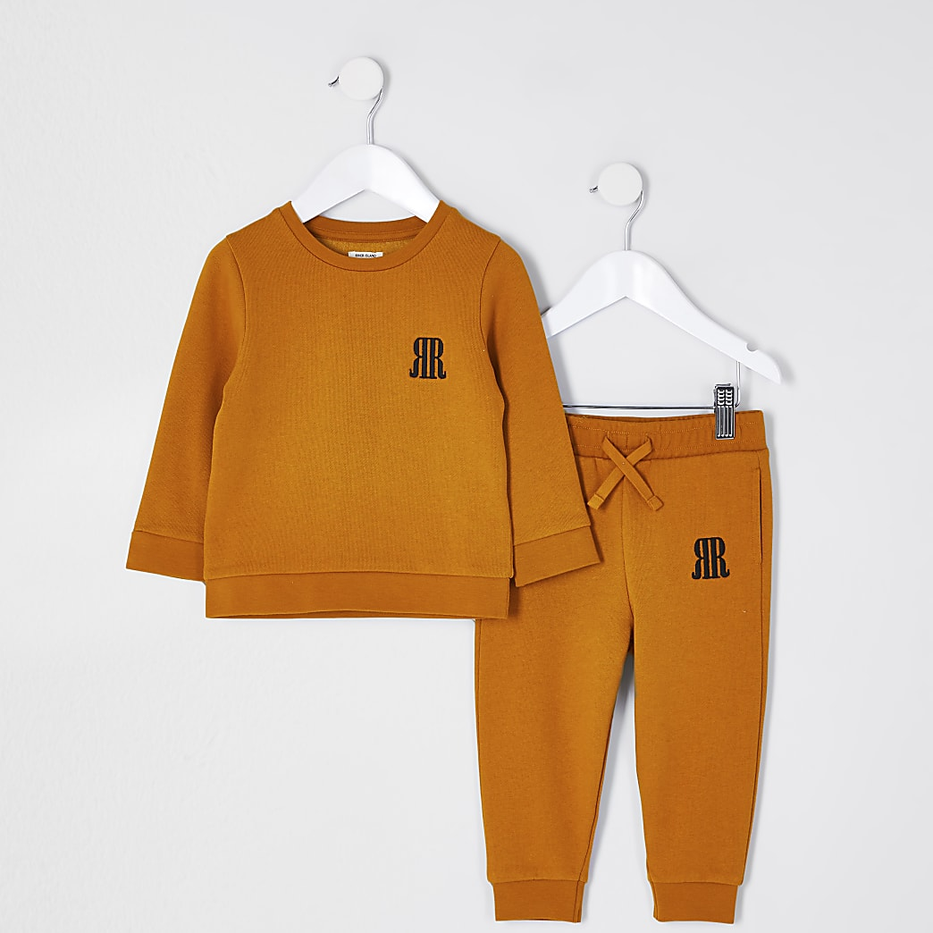 Mini boys yellow sweatshirt outfit