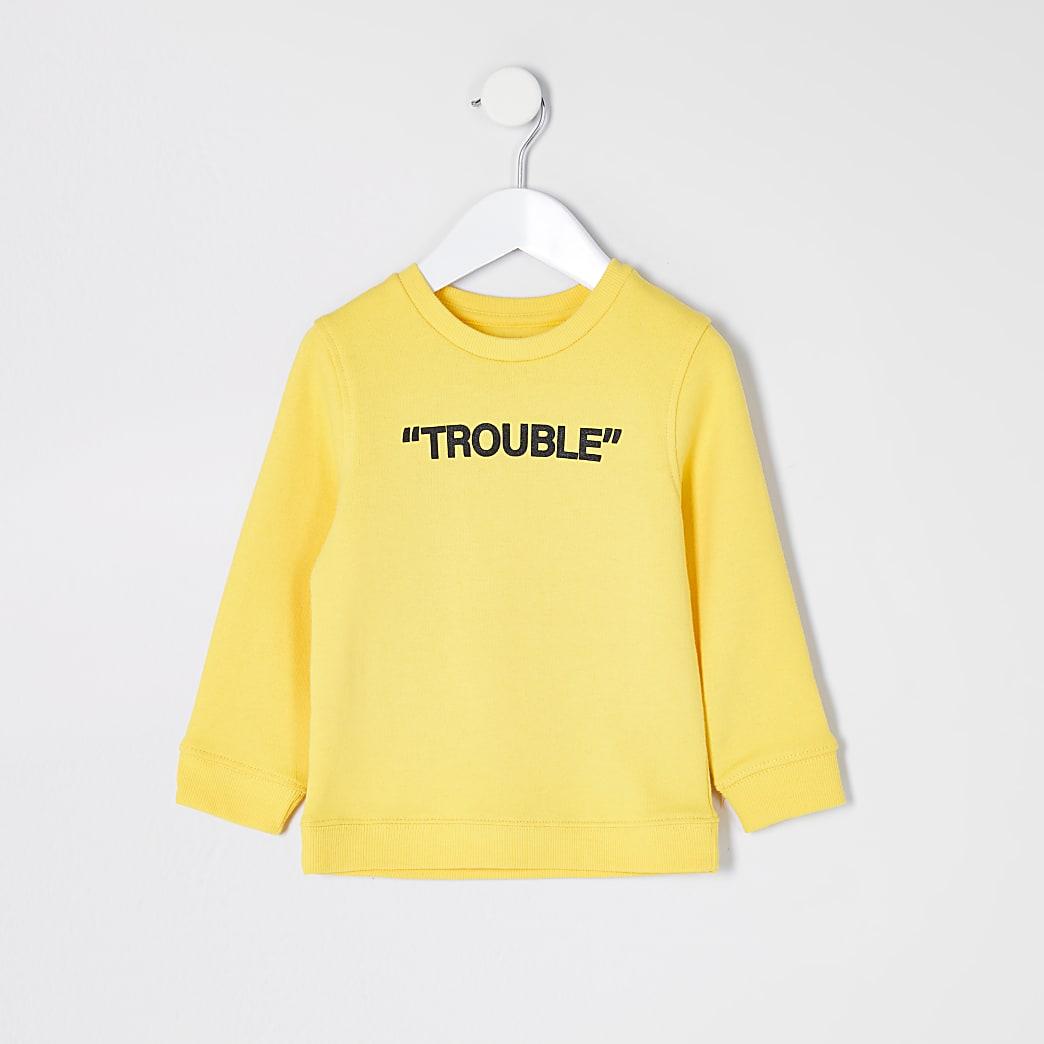 Mini - Gele sweater met 'Trouble'-print voor jongens