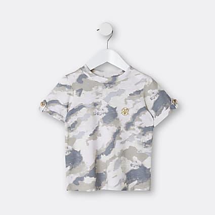 Mini girl beige camo turn up sleeve t-shirt