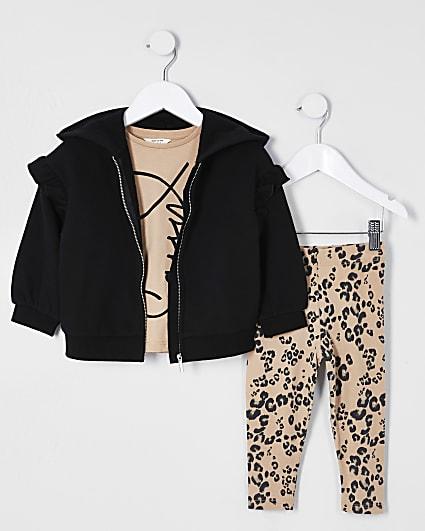 Mini girl black 'Sassy' three piece outfit